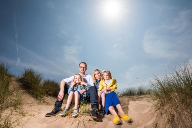 Photo of an Aberdeen family taken on location. Relaxed and fun