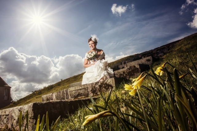 A creative flash photograph taken at a wedding in Meldrum House by Jonathan Addie, an Aberdeen based wedding photographer
