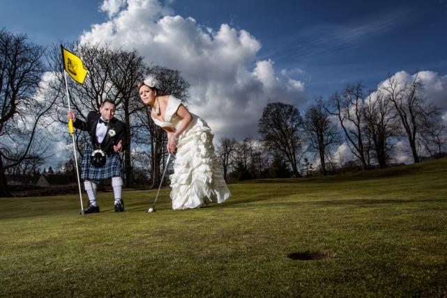 A fun couple photograph taken at a Meldrum in Aberdeenshire by Jonathan Addie, an Aberdeen based wedding photographer