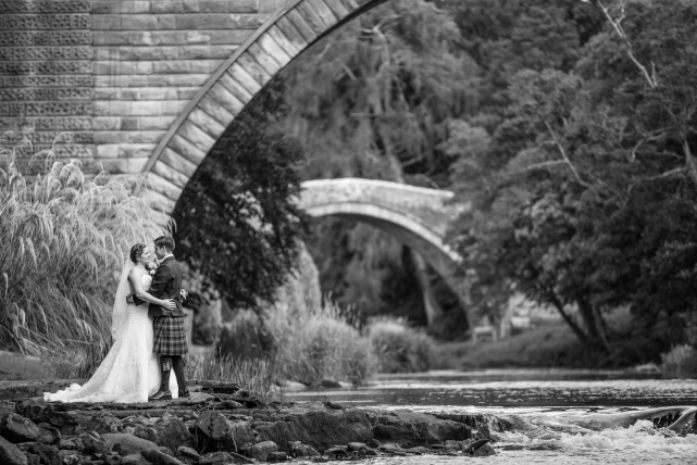 A black and white photograph taken at a wedding by Jonathan Addie, an Aberdeen based wedding photographer