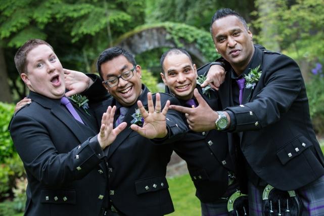 A fun boys photograph taken at a wedding in Aberdeen by Jonathan Addie, an Aberdeen based wedding photographer