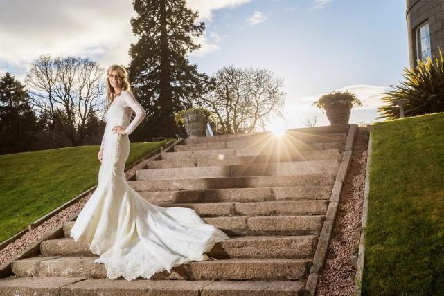 A bride photograph taken at a wedding in Aberdeenshire by Jonathan Addie, an Aberdeen based wedding photographer