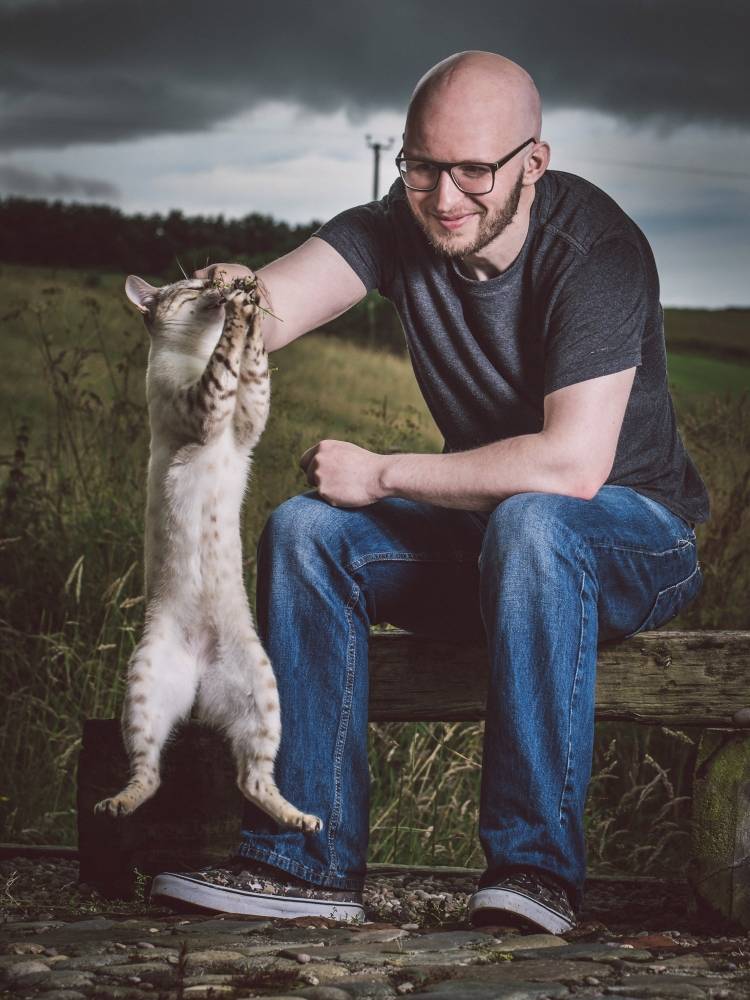 Jonathan Addie with his cat