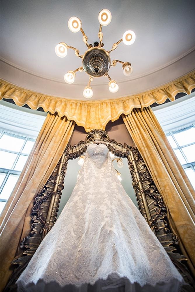 A dress photograph taken at a wedding in Aberdeen by Jonathan Addie, an Aberdeen based wedding photographer